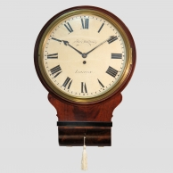 A good, English drop-dial mahogany wall clock with a wooded dial by Thomas Harrison of London.