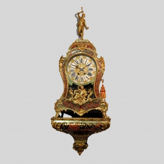 French red Boulle clock and bracket by Vincenti. Circa 1880.