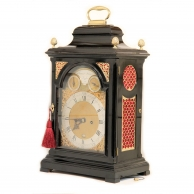 A fine ebonised, bell-top table clock by Francis Atkins circa 1770.