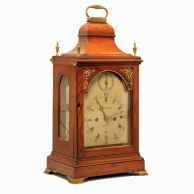 Small mahogany, verge escapement table clock by Benjamin Lautier of Bath. Circa 1795.