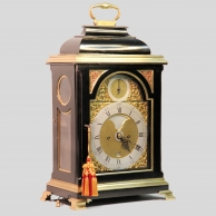 A good Georgian, brass bound table clock by John Cowell, Royal Exchange, London. Circa 1765.