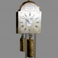 18th century 'Pantry' wall clock with verge escapement and alarum by John Denham of Dereha