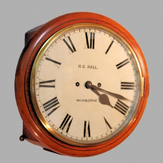 Victorian English fusee dial clock with a striking movement. Retailed by H.G. Hall of Wimborne. Circ