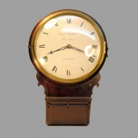 A fine and early, English Drop-dial wall clock with side-winding fusee movement, wooden dial and Thw