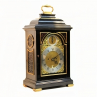 Ebonised, inverted bell-top bracket clock by eminent maker John Ellicott, London. Circa 1770.