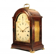 Georgian mahogany bracket clock with painted break-arch dial by John Harris of London. Circa. 1785.