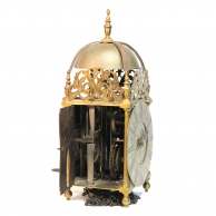 C17th English Lantern clock with centre swing, verge escapement. Made by Benjamin Brockhurst of Cove