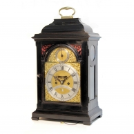 A mid 18th century, ebonised bracket clock with verge escapement by Laurence Mace, London. Circa 175
