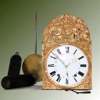 French Comptoise or Morbier striking wall clock with calendar to the dial.